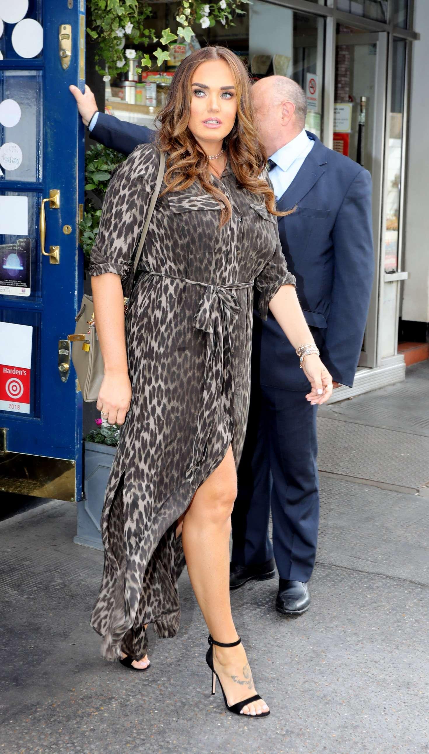 Tamara Ecclestone in Leopard Print Maxi Dress - Out in London