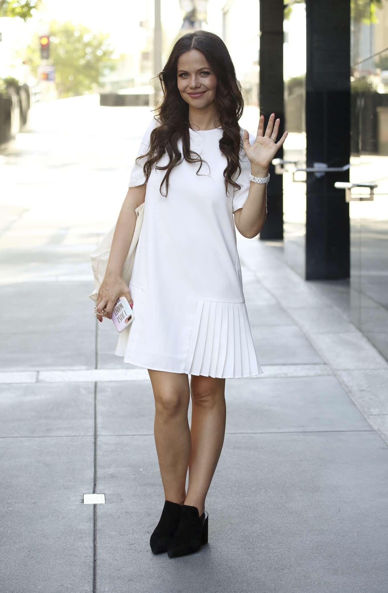 Tammin Sursok in White Mini Dress - Shopping in Los Angeles