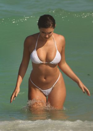 Tao Wickrath in a White Bikini on Miami Beach