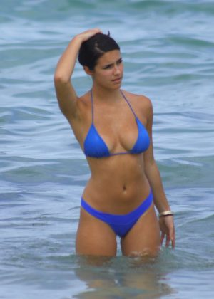 Tao Wickrath in Blue Bikini on Miami Beach