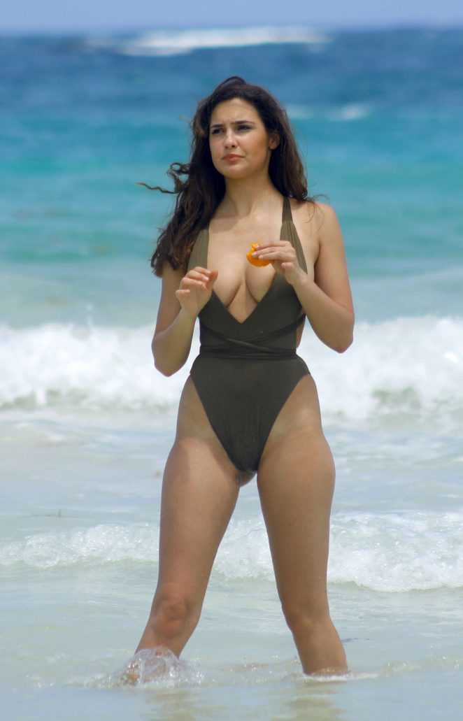 Tao Wickrath in Swimsuit on the beachin Tulum