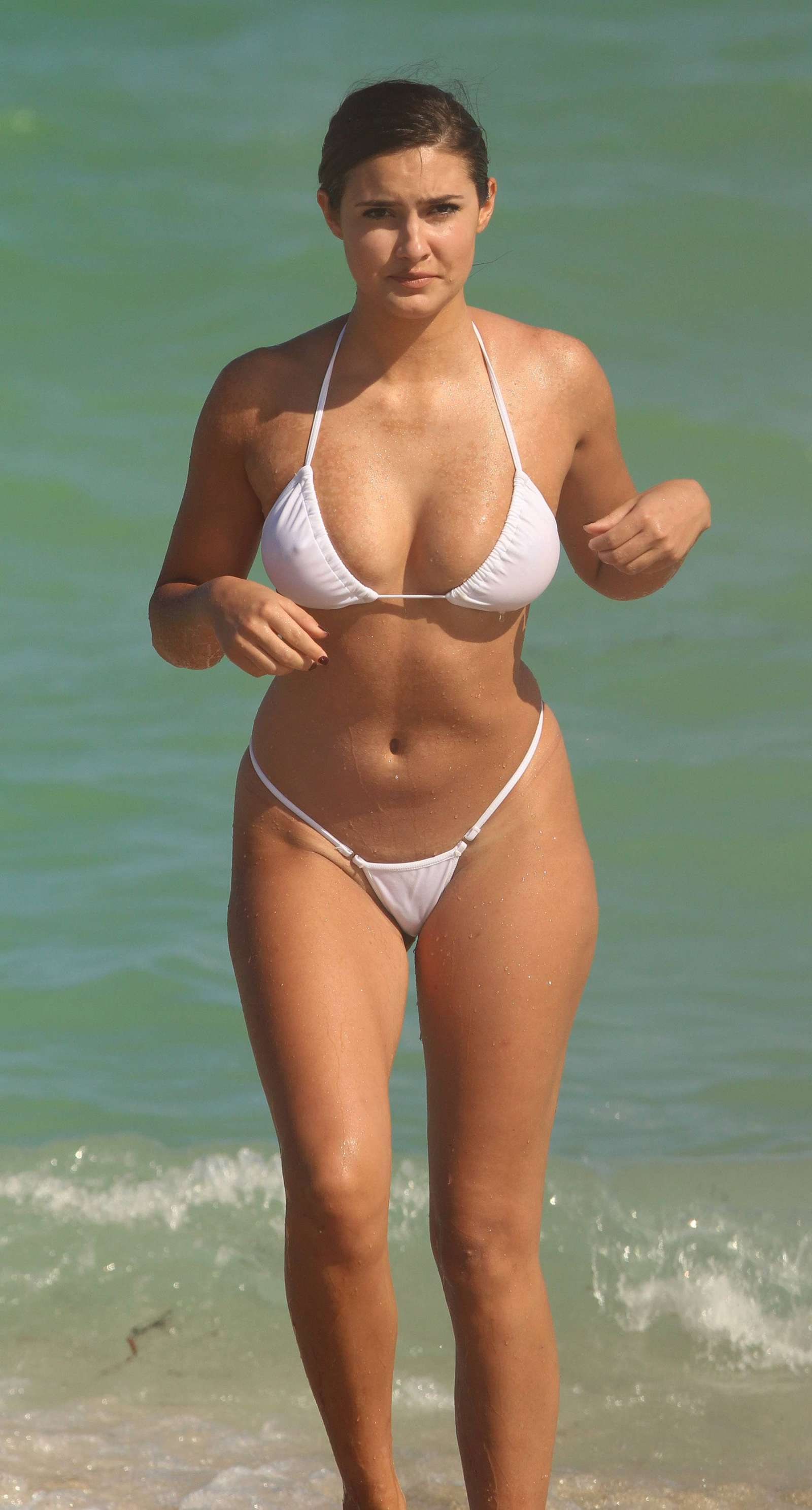 Tao Wickrath in White Bikini on Miami Beach adds