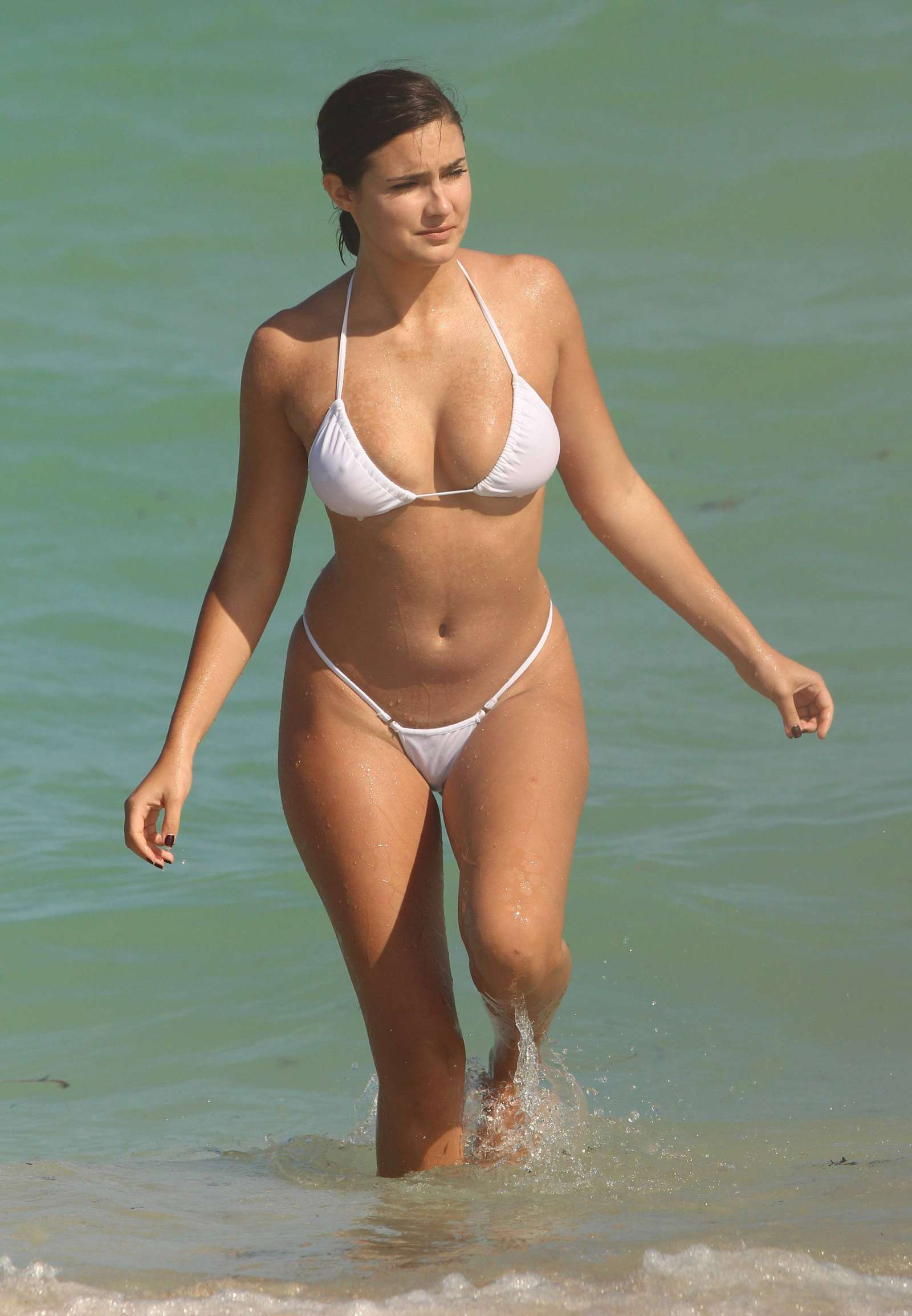 Tao Wickrath in a White Bikini on Miami Beach 2