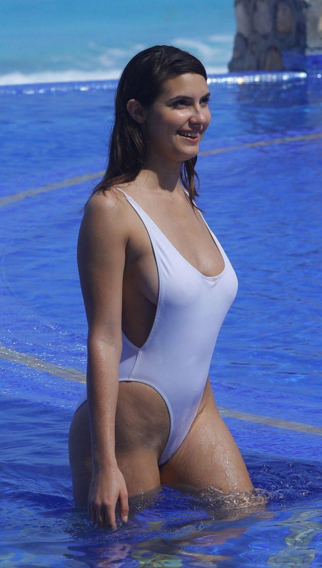 Tao Wickrath in White Swimsuit in Miami