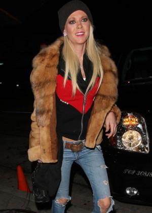 Tara Reid in Ripped Jeans at Craig's Restaurant in LA