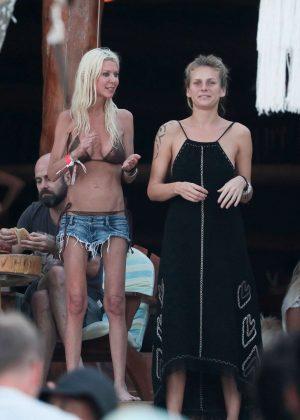 Tara Reid in Bikini Top and Shorts with friends in Tulum Pic 2 of 35