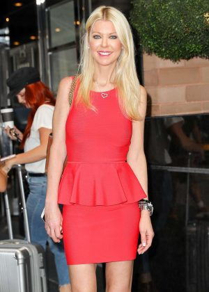 Tara Reid in red dress leaving her hotel in NYC