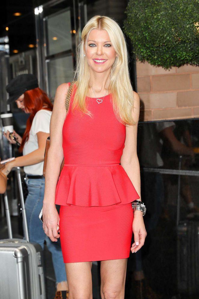 Tara Reid in red dress leaving her hotel in NYC