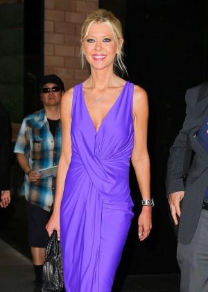 Tara Reid in Purple Dress Leaving her hotel in NYC