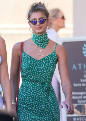Taylor Hill in Green Dress out in Saint Tropez