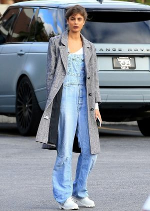 Taylor Hill in Long Coat out in Beverly Hills