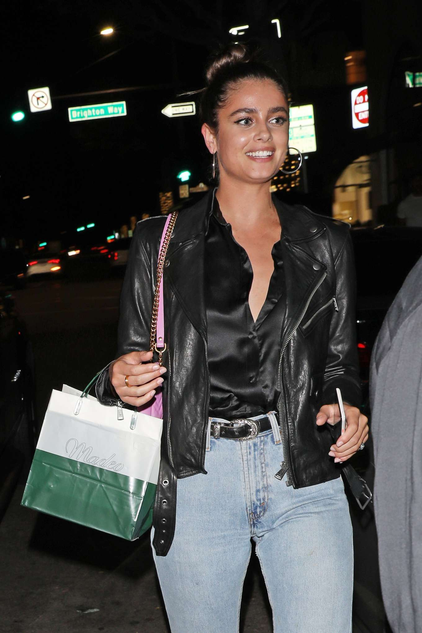 Taylor Hill - Leaves Italian restaurant Madeo in Beverly Hills