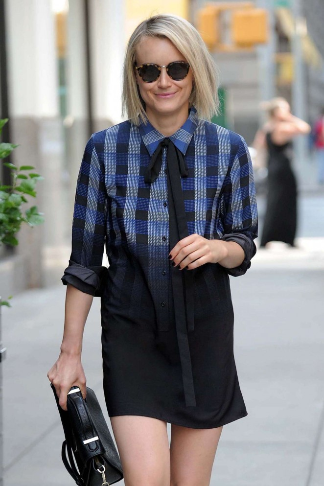 Taylor Schilling in Mini Skirt out in NY