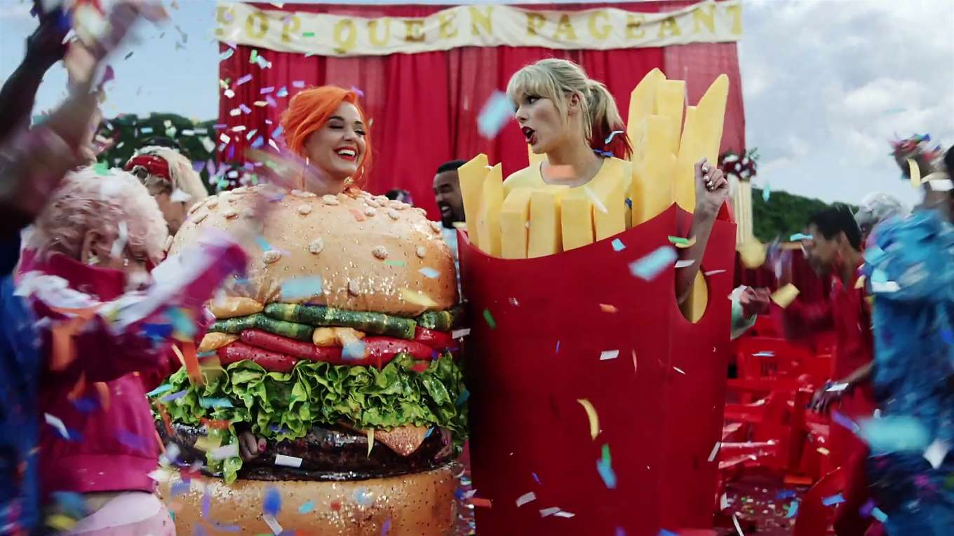 Taylor Swift and Katy Perry in Taylor's latest music video 'You Need to Calm Down'