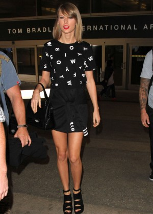 Taylor Swift in Short Dress at LAX Airport in Los Angeles