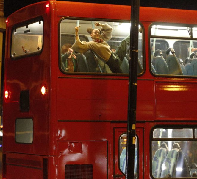 Taylor Swift - Films her new music video on an iconic red bus in London