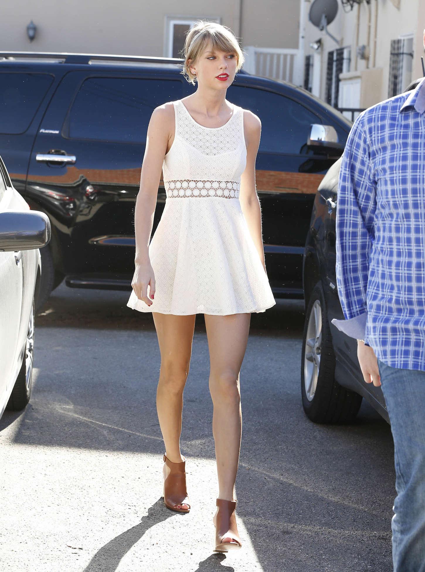 Taylor Swift In White Mini Dress -03