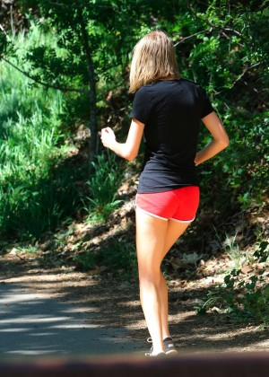 Taylor Swift in Red Shorts -05