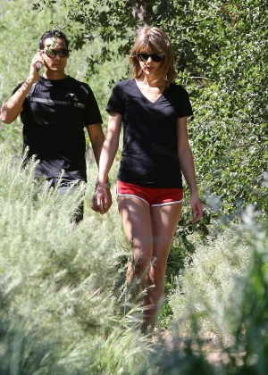 Taylor Swift in Red Shorts -07