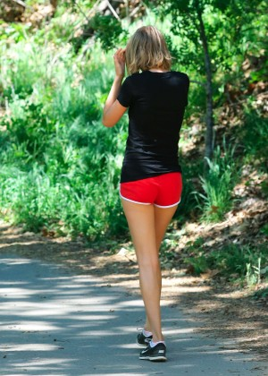 Taylor Swift in Red Shorts Hiking in Malibu