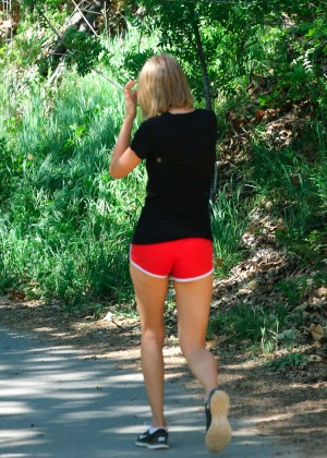 Taylor Swift in Red Shorts -14