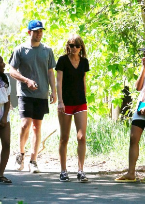 Taylor Swift in Red Shorts -25
