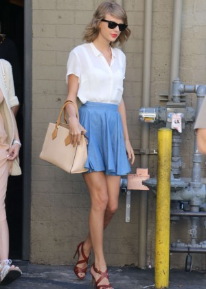 Taylor Swift in Blue Mini Skirt out in Beverly Hills
