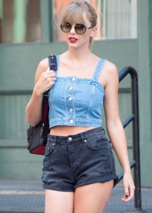 Taylor Swift in Denim Shorts - Out in New York City