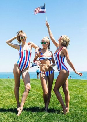 Taylor Swift in Red White and Blue Swimsuit in Rhode Island