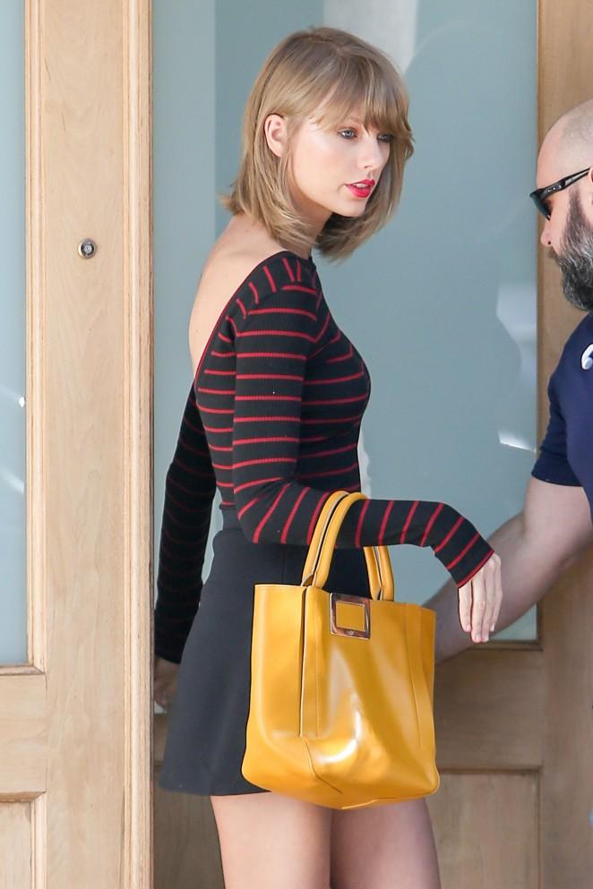 Taylor Swift in Short Black Skirt out in LA