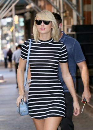 Taylor Swift in Mini Dress Leaving her Apartment in Tribeca New York