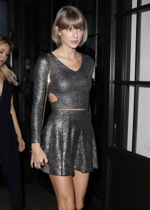 Taylor Swift in Mini Dress Leaving Spago Restaurant in Beverly Hills