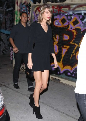 Taylor Swift in Black Mini Dress out in LA