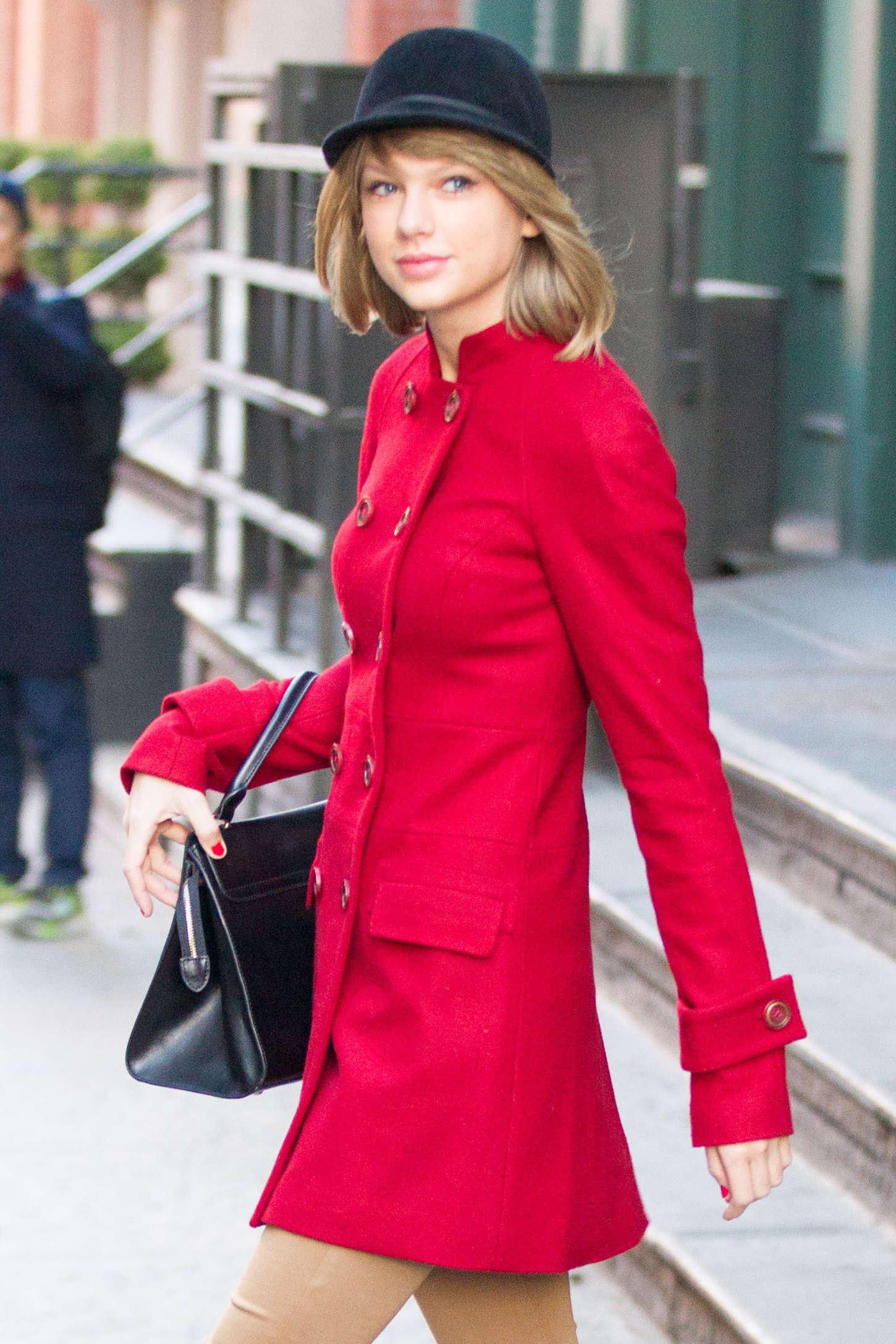 Taylor Swift in Red Coat Out in NYC