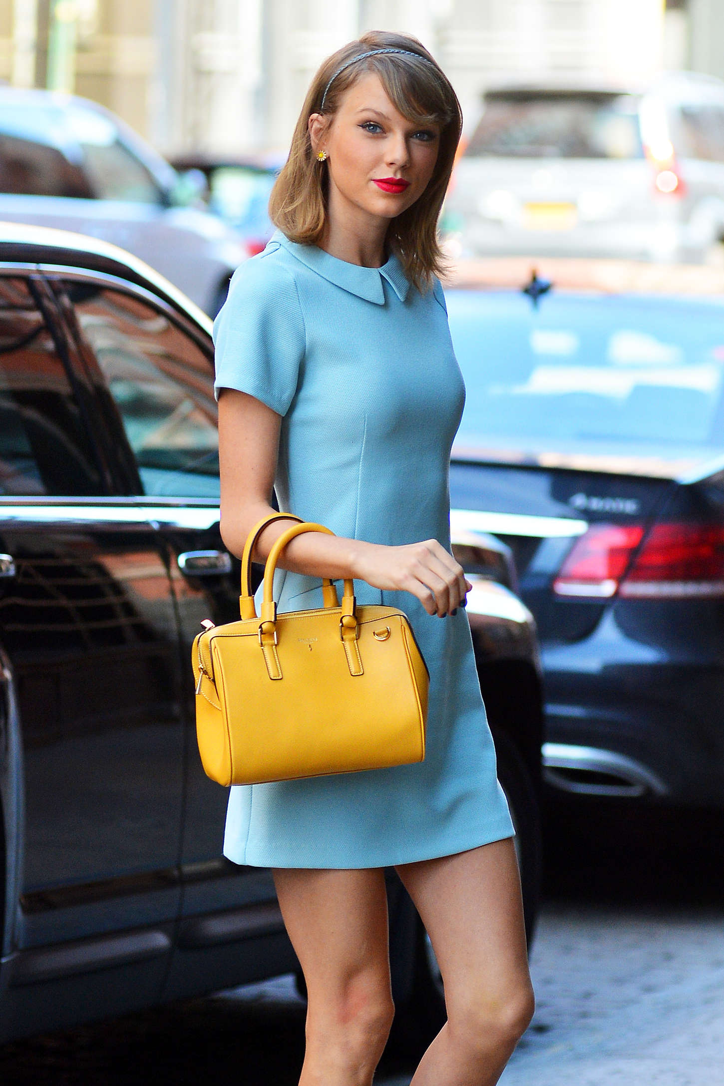 Taylor Swift in Blue Mini Dress Out in Tribeca