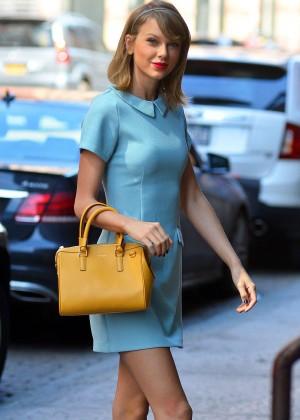 Taylor Swift in Blue Mini Dress -07