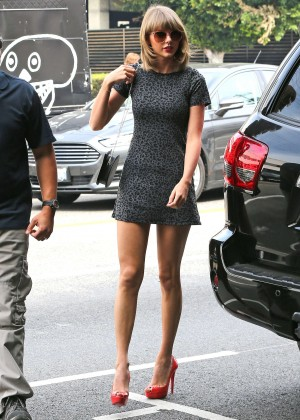 Taylor Swift in Mini Dress Out for lunch in LA