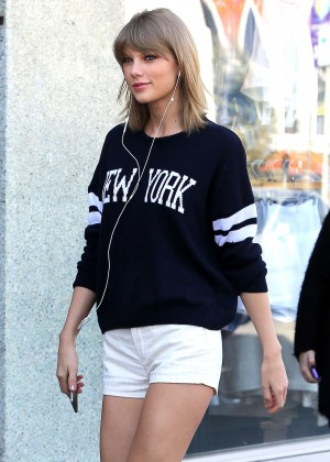Taylor Swift in White Shorts out in Studio City
