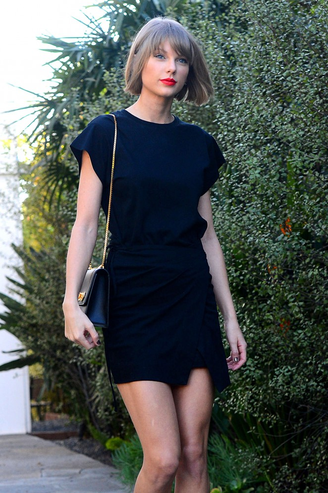 Taylor Swift in Mini Dress Shopping in West Hollywood