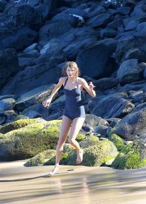 Taylor Swift in Blue Swimsuit -07