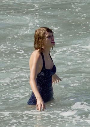 Taylor Swift in Blue Swimsuit -24