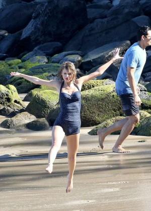 Taylor Swift in Blue Swimsuit -34