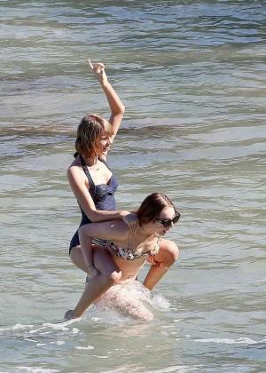 Taylor Swift in Blue Swimsuit -39