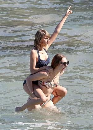 Taylor Swift in Blue Swimsuit -48