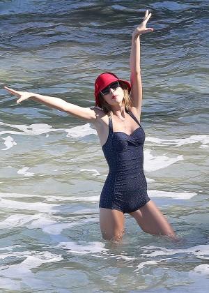 Taylor Swift in Blue Swimsuit -58