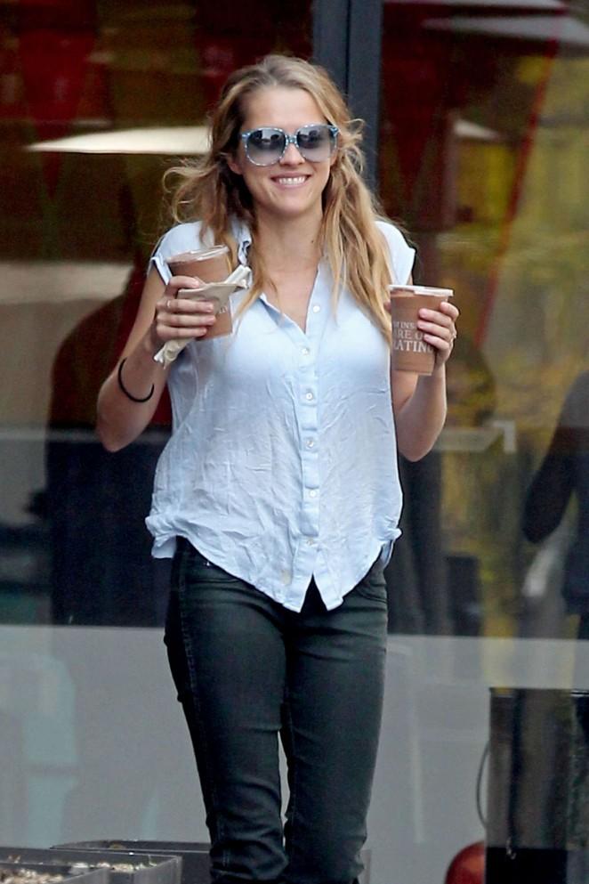 Teresa Palmer in Tight Jeans Getting coffee in LA