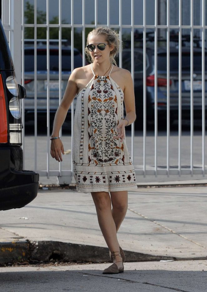 Teresa Palmer in Mini Dress - Out in Hollywood