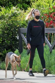 Teresa Palmer - Out for a walk with her dog in Los Angeles