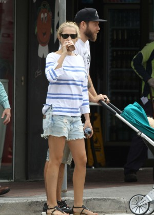 Teresa Palmer in Jeans Shorts Out in Sydney