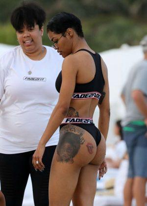 Teyana Taylot in Black Bikini on Miami Beach Pic 4 of 35